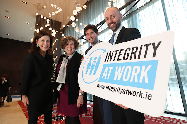 Grainne Madden, Founder and Principal, GMJ Associates, Dana Gold, Government Accountability Project, Andrew Samuels, Founder, Addveritas and John Devitt, Chief Executive, Transparency International Ireland at the Integrity at Work Conference 2018